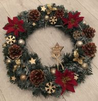 Red Gold Christmas Wreath Fairy Lights Front Door Wall Decoration Poinsettia